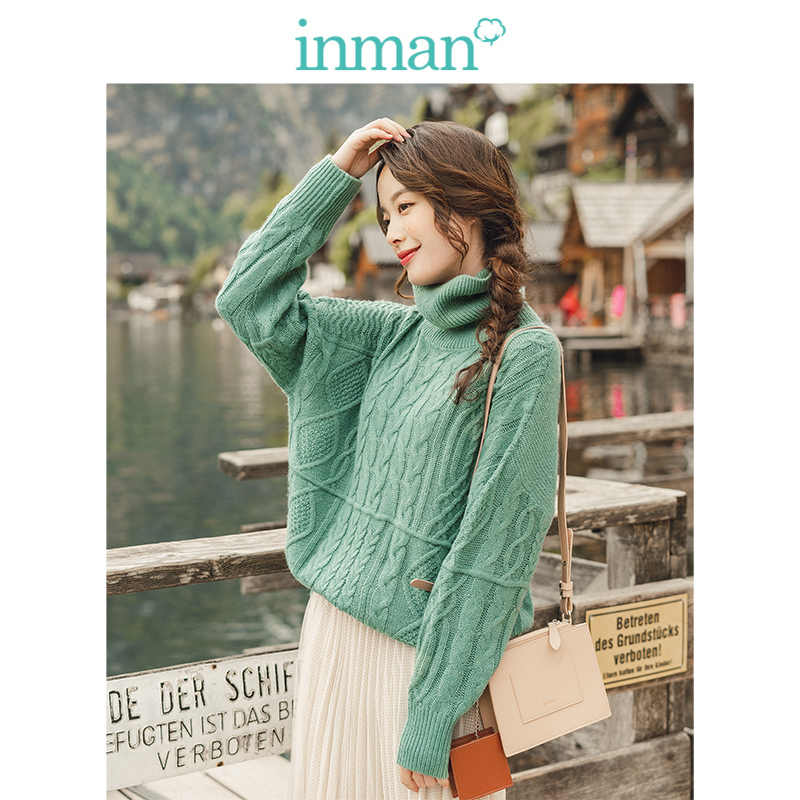INMAN Winter Solide High Neck Drop-schulter Hülse Jacquard Warm Frauen Pullover