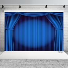 Blue Curtain Stage Photography Background Vinyl Cloth Backdrop Photo Studio for Portrait Children Baby Theater Show Photoshoot