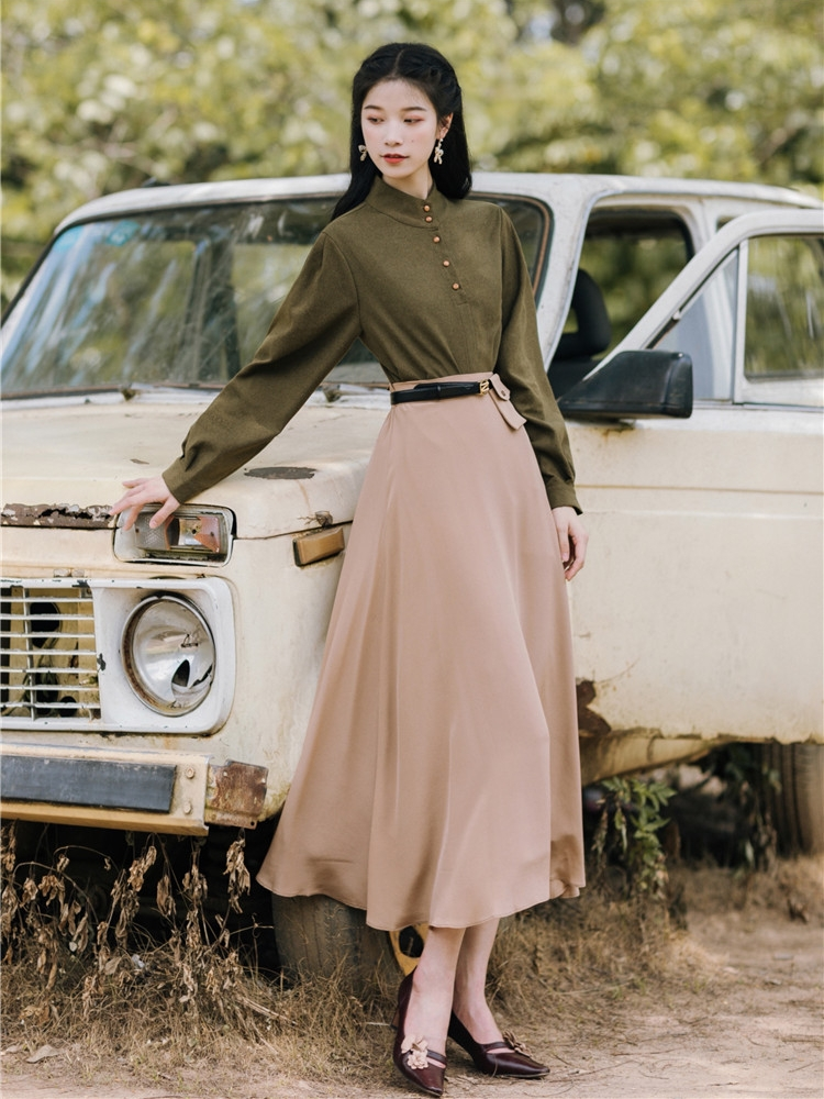 2019 nouvelle mode femmes rétro français vert chemise + jupe deux pièces costume
