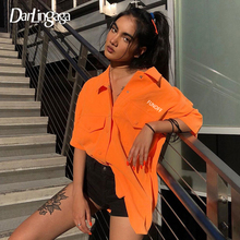 Darlingaga Streetwear Orange 2020 Fashion Women Blouses Shir