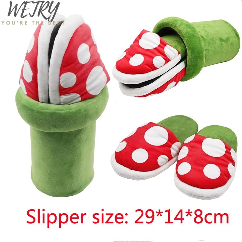 Super Mario Bros Slippers Piranha Decoration Flower Cosplay Shoes Autumn&Winter Plush Slipper Christmas Gift Wholesale