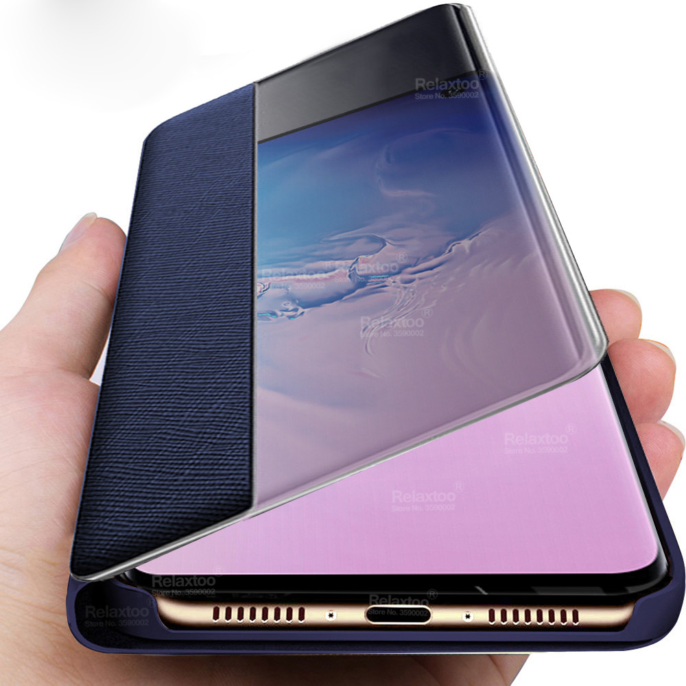 Leather Flip Case For samsung s10 s8 s9 plus smart View cover For samsung <font><b>galaxy</b></font> note 10 plus case <font><b>s</b></font> 8 <font><b>9</b></font> note10 10+ fundas coque image