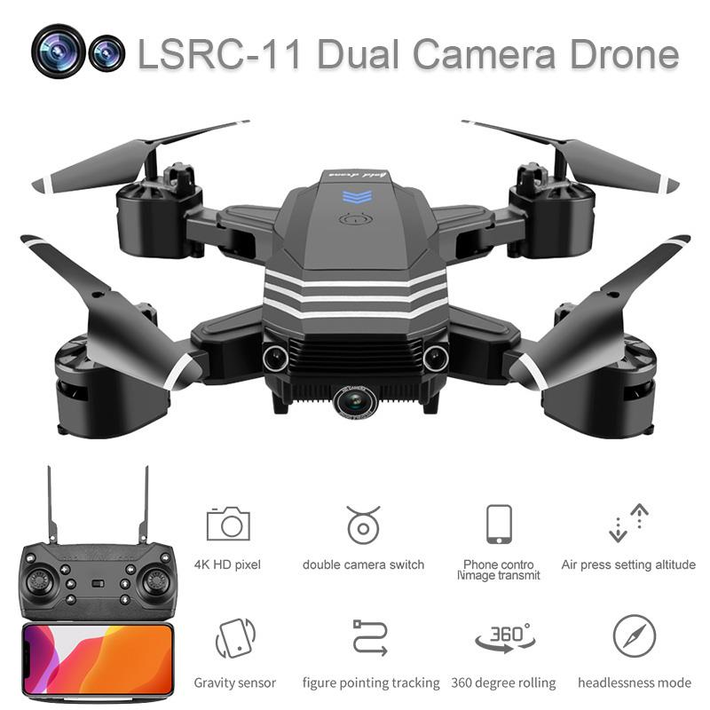 New LS11 Drone 4K HD Dual Lens Mini Drone 1080P Real-Time FPV Drone Height Keeps Professional Foldable RC Quadcopter