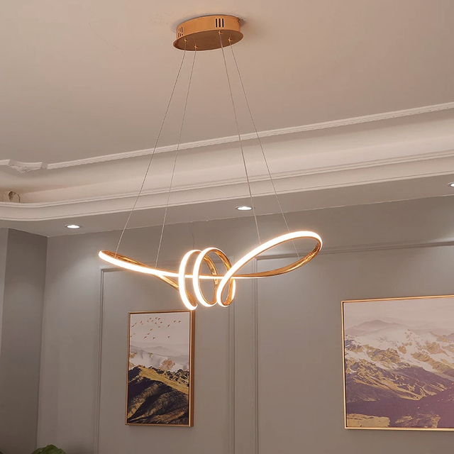 Gold Chrome Plated Modern Led Chandelier Hanging For Dining Room Kitchen Room Living Room Home Deco Chandelier Fixture