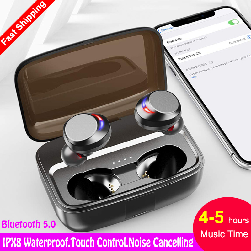TWS C3 IPX8 Waterproof Bluetooth 5.0 Earphone Touch True Wireless Earbuds Stereo CVC8.0 Noise Cancelling Headphone 5h Music Time