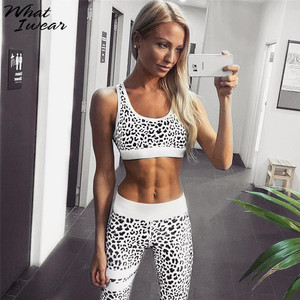 Image 1 - נשים קיץ סטי 2 חתיכות הדפס מנומר מכירה לוהטת ספורט חליפות Sportwear נמתח יבול למעלה גבוהה Waitst חותלות