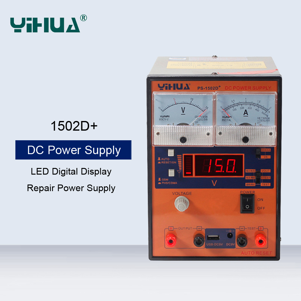 YIHUA <font><b>1502D</b></font>+ 15V 2A Laboratory DC Regulated Power Supply Communications Repair Dedicated Power Supply With USB Output Interface image