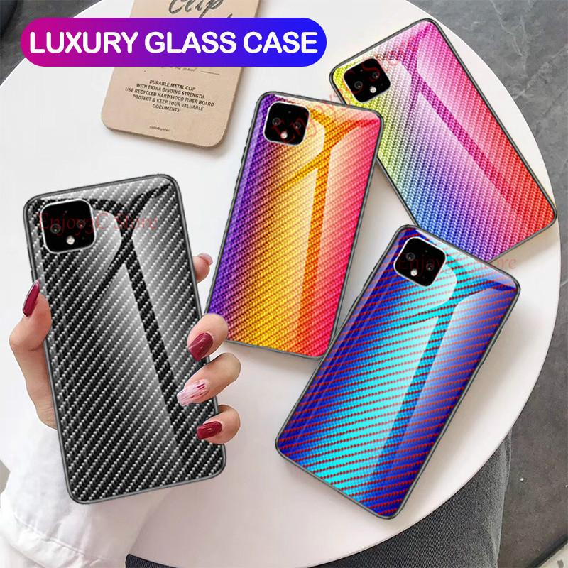 For Google Pixel 2 3 3A 4 XL Case Luxury Carbon Fiber Tempered Glass Case For Pixel 2XL 3XL 4XL 3AXL Soft TPU Border Cover Coque