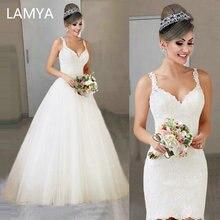 LAMYA/ Новое свадебное платье со съемным шлейфом элегантное кружевное платье принцессы с аппликацией Vestido De Noiva 2 в 1 бальное платье для невесты