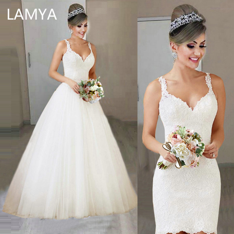 LAMYA 2019 New Detachable Train Wedding Dress Princess Elegant Lace Appliques Vestido De Noiva 2 In 1 Ball Gown Bridal Gowns