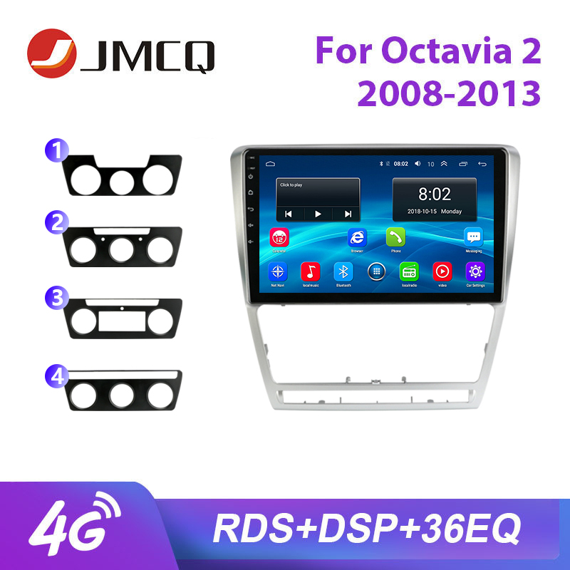 JMCQ 10 Car Radio For Skoda Octavia 2 2008-2013 RDS 36EQ Android player GPS Navigaion Multimedia Video Player Stereo with Frame image