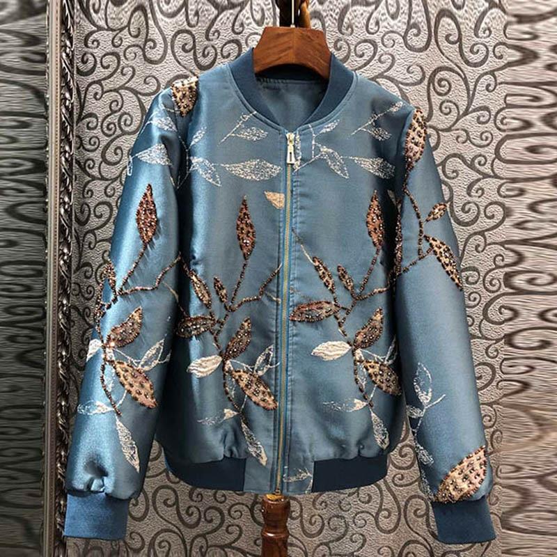 Red RoosaRosee дизайнерские женские весна осень роскошные жакеты со стразами пальто с длинным рукавом Винтаж синий жаккард короткая верхняя одежда пальто