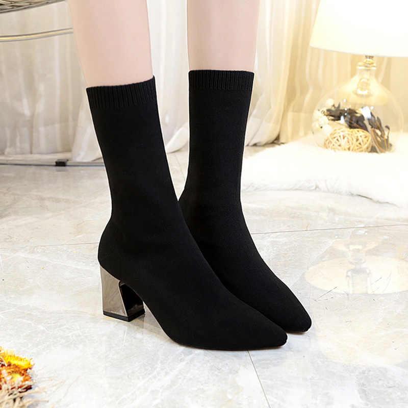 Новые ботильоны; эластичные вязаные сапоги-носки; весенние женские слипоны с острым носком размера плюс на высоком каблуке