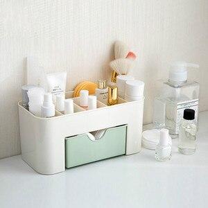 Pink Blue Green Plastic Makeup Organizer Make Up Brush Storage box with Drawer Cotton Swabs Stick Storage case escritori