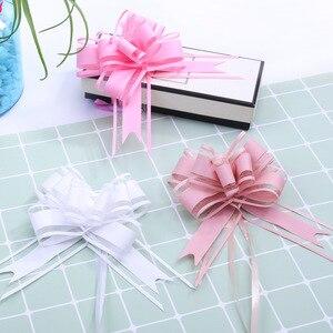 100 Uds tamaño grande 50mm blanco color sólido tirar arco regalo embalaje flor lazo apertura ceremonia fiesta boda coche Decoración