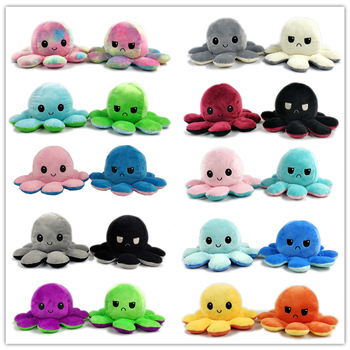 Flip two-sided Octopus Plush Stuffed Doll Toy Different Sides To Show Different Moods Soft Simulation Octopus Plush Toy For Kids image