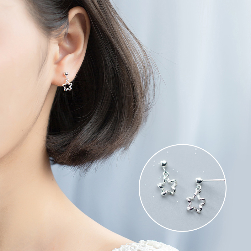 Mocanie Fashion 925 Sterling Silver Hollow Out Flower Star Shape Dangle Earring for Women Light Beads Drop Earring Fine Jewelry