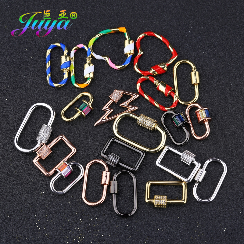 Juya DIY Jewelry Making Accessories Hanging Chain Fastener Spiral Locket Hooks Screw Clasps For Necklace Bracelet Components