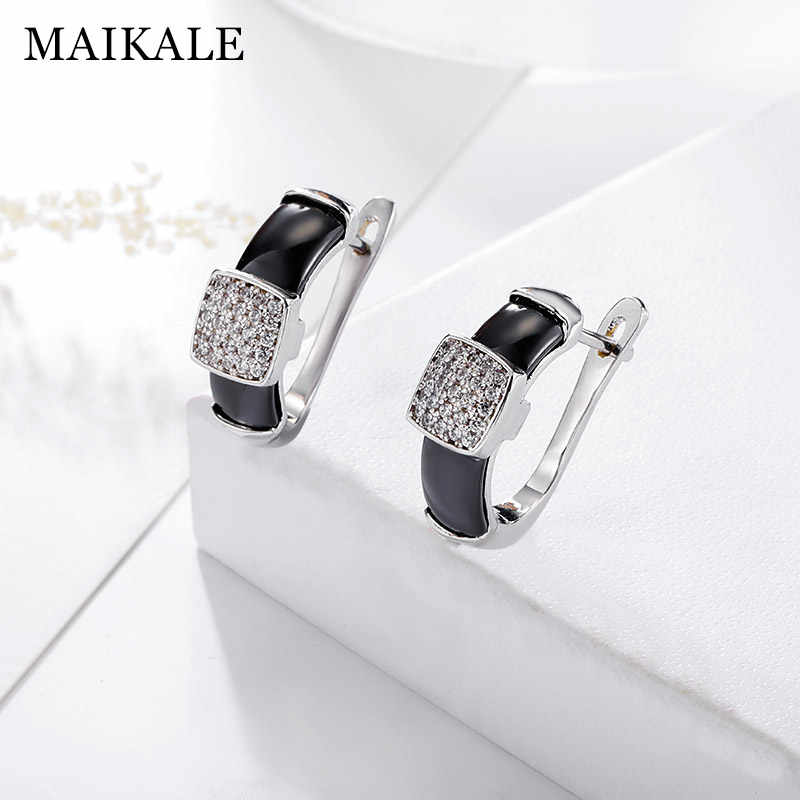 MAIKALE Classic Simple Stud Earrings Square Cubic Zirconia Copper And Ceramic Earrings Plated Gold Silver Earing For Women Gift