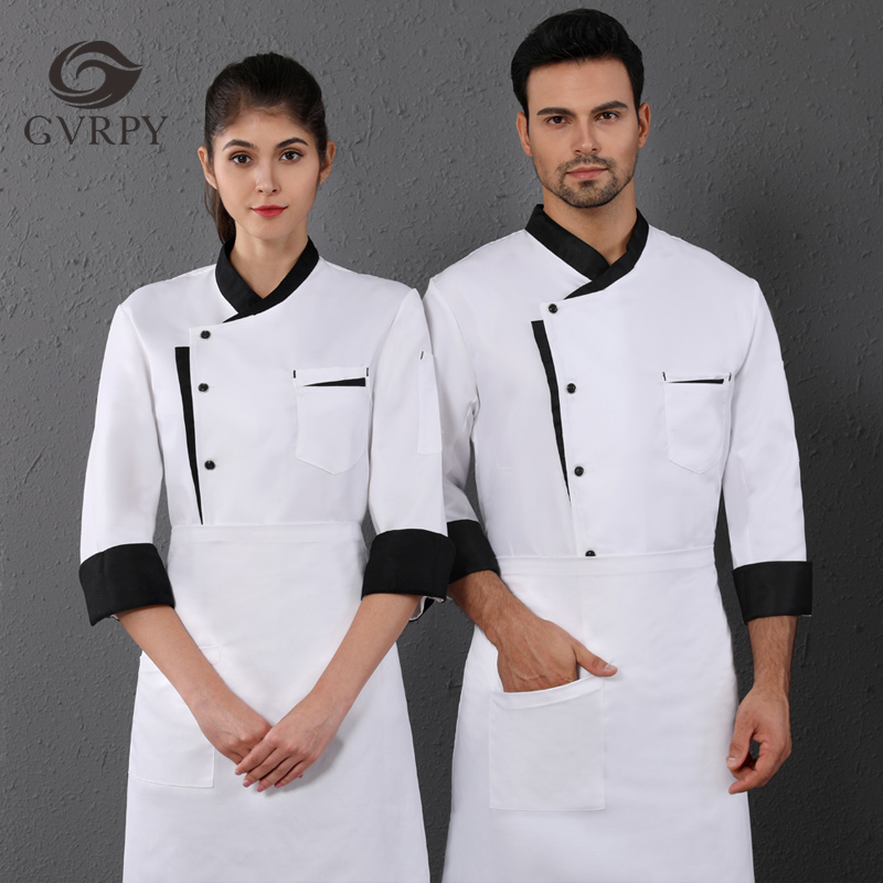 Oblique Collar Chef Uniform Unisex Long Sleeve Jacket Hotel Restaurant Cafe Hair Salon Bakery Waiter Work Shirt Free Scarf Gift