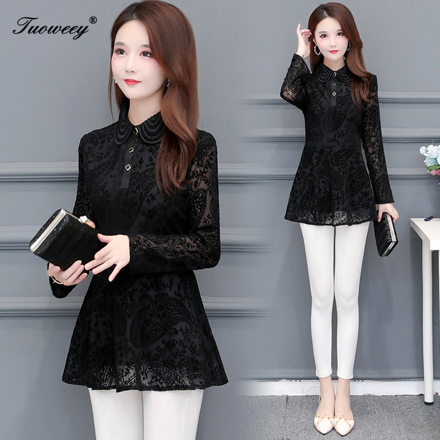 Hollow Out Lace Blouse Shirt Ladies 2020 Spring Summer Sexy stand collar Tops Casual Elegant black solid Blouses Plus Size 4