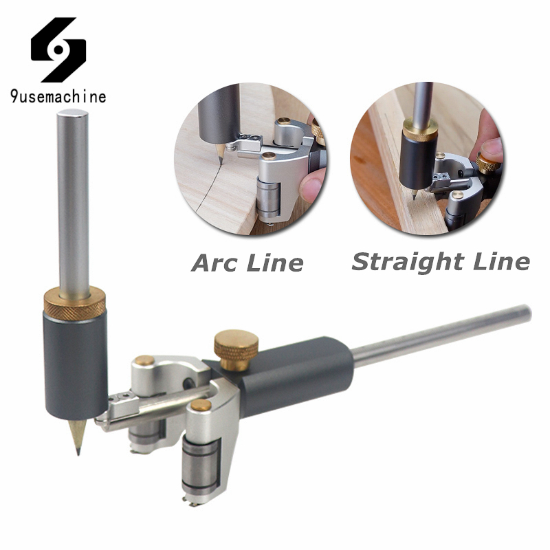 Woodworking Straight And Arc Line Scribe Dual-purpose Parallel Line Drawing Ruler Marking Gauge Automatic Line Scribing Tools