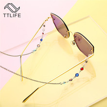 TTLIFE Acero Inoxidable 75 CM  Correa Collar Gafas Multicolor Cadena Cable Para Leer Gold Glasses String For Women YJHH0280