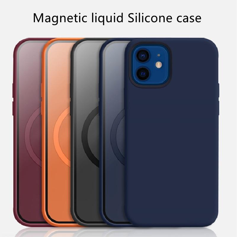 Жидкий силиконовый чехол с анимацией для IPhone 12 Pro Max, Магнитный Роскошный силиконовый чехол для iPhone 12 Pro 12 Mini Magsafing