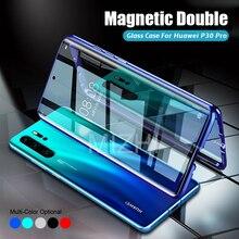 360 Huawei P30 Pro 용 마그네틱 이중 유리 케이스 Huwei Huawey Huaweii P 30 Pro 30Pro P30Pro Coque capa의 강화 유리 케이스