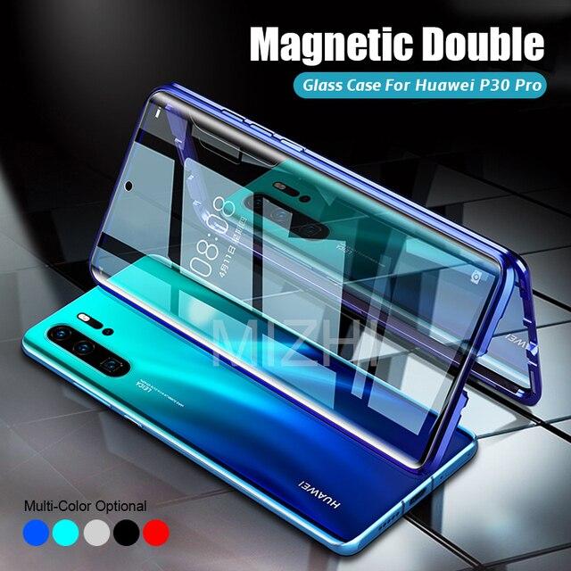 Capa magnética dupla de vidro temperado, capinha 360 para huawei p30 pro huwei huawey huaweii p 30 pro 30pro capa de coque p30pro