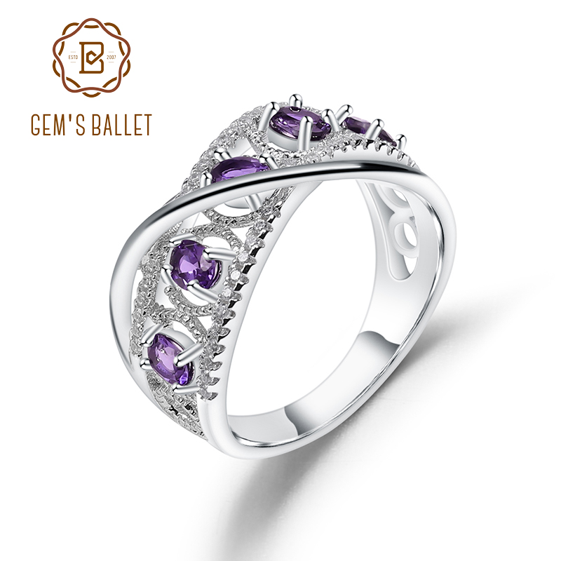GEM'S BALLET 0.86Ct Natural Amethyst Gemstone Finger Rings 925 Sterling Silver Wedding Band Ring For Women Fine Jewelry