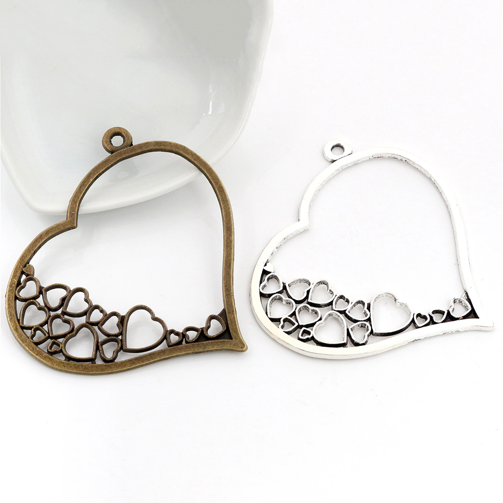 70x67mm 2pcs Antique Silver Plated And Bronze Plated Heart Handmade Charms Pendant:DIY For Bracelet Necklace