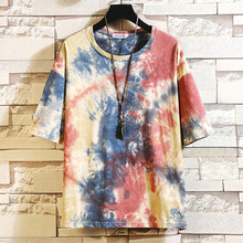 T-shirt For Male T Shirt Men Tie Dyeing Summer Casual Fashion Printing O-neck Loose Short Sleeve T-shirt Tops Costume Camiseta цены