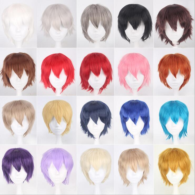 Cheap Synthetic Hair Short Wavy Men Wig Cosplay Black White Blonde Brown Purple Pink Blue Red Orange Gray Silver Anime Wigs