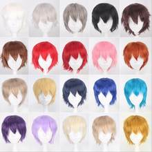 Cheap Synthetic Hair Short Wavy Men Wig Cosplay Black White Blonde Brown Purple Pink Blue Red Orange Gray Silver Anime wigs(China)