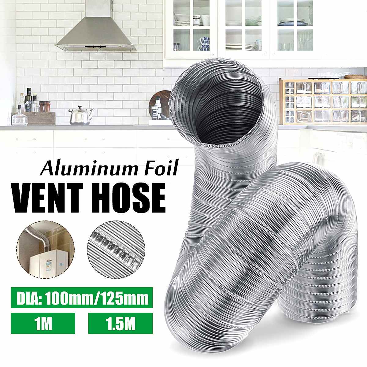 4/6 Inch Air Ventilation Ventilator Aluminum Pipe Tube Hose Flexible Exhaust Pipe Duct Air System Air Conditioner Accessories
