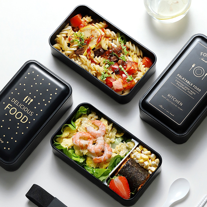 Portable Rectangular Lunch Box Double Plastic Health Material Bento Box 1200ml Microwave Tableware Food Storage Container Lunch