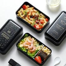 Boîte à déjeuner rectangulaire Portable, Double plastique, matériel de santé, boîte à Bento de 1200ml, vaisselle micro-ondes, récipient de stockage des aliments