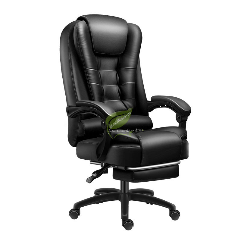 Computer Chair Home Office Chair Comfortable Sedentary Study Swivel Chair Electric Race Chair Back Leather Can Lie Boss Seat