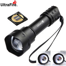 Ultrafire t20 10w ir lanterna 850nm 940nm visão noturna zoomable tocha led lanterna infravermelha tático caça lanterna
