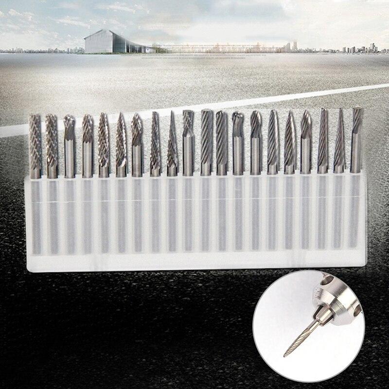 20 шт 3 мм хвостовик Вольфрамовая сталь Твердые карбидные ротационные свёрла Алмазные Заусенцы Набор подходит инструмент для