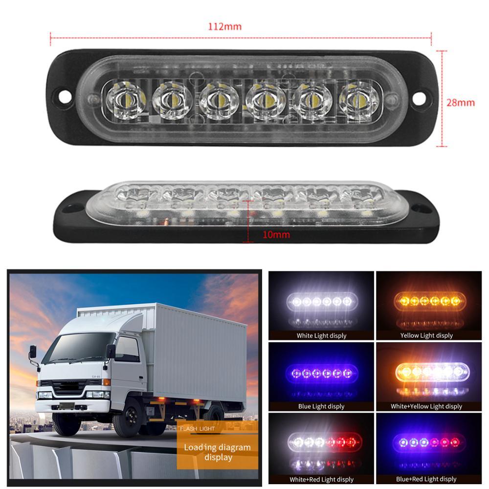 LED 18W Police Lights 12V 24V 6 Car Emergency Truck Side Strobe Warning Light for Motorcycle
