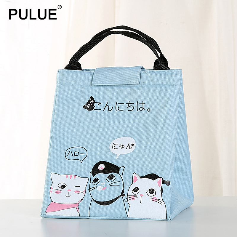 Cartoon Lunch Bag New Japanese Style Portable Thermal Insulated Bento Pouch Waterproof Cooler Bag Cute Cat Picnic Lunch Box Bag