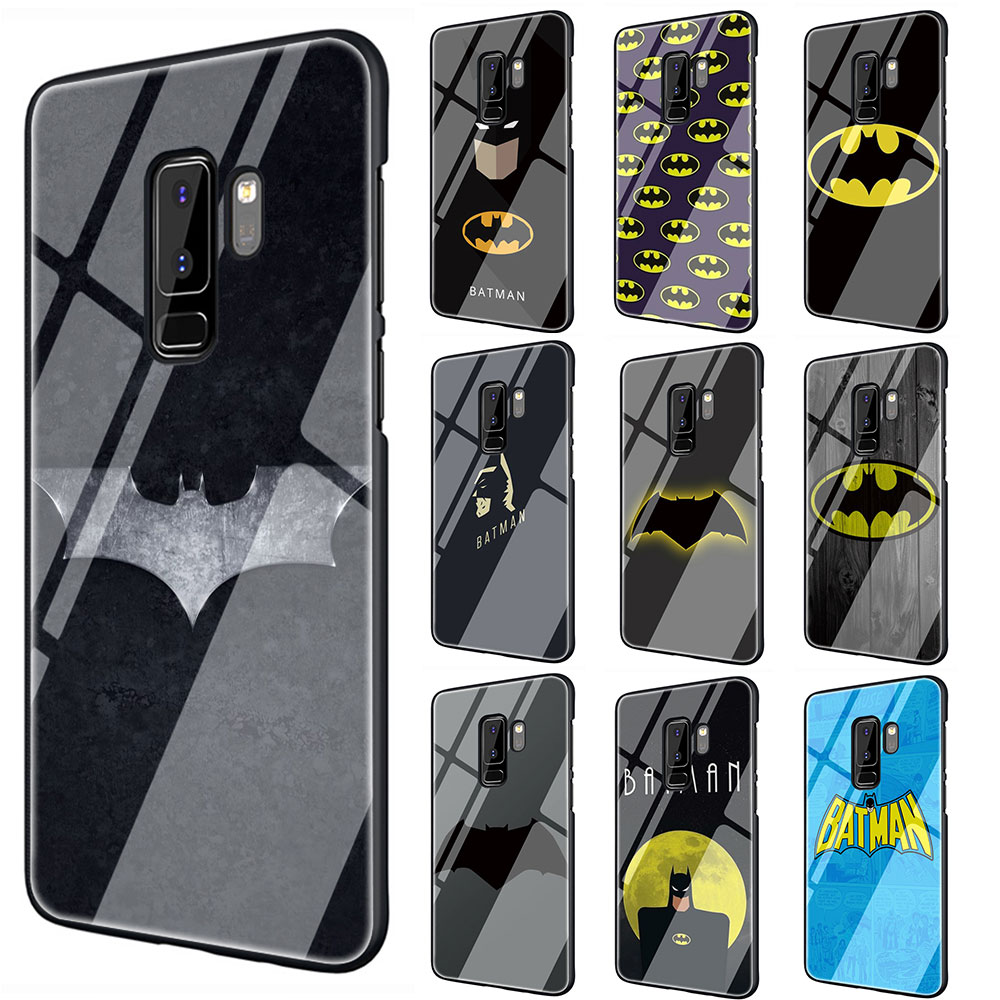 marvel Batman logo Tempered Glass TPU Black Cover Case for Galaxy S7 Edge S8 S9 S10 Plus Note 8 9 10 A10 20 <font><b>30</b></font> <font><b>40</b></font> <font><b>50</b></font> <font><b>60</b></font> <font><b>70</b></font> image