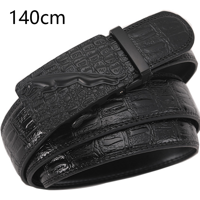 140cm Crocodile Pattern Men's Lengthening Belt Top Quality Automatic Buckle Genuine Leather Men Belts Large Size Designer Belt