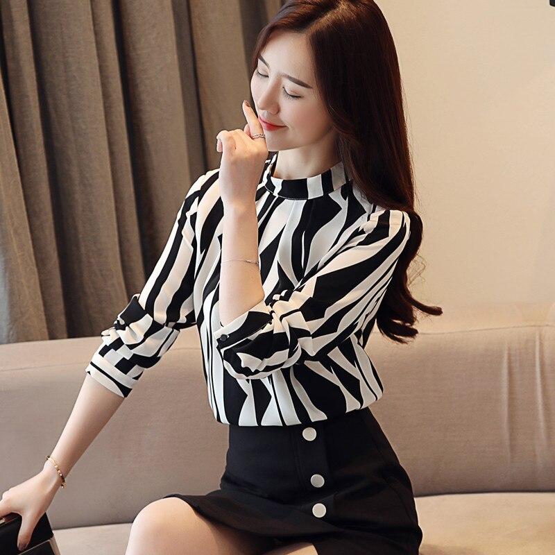 Fashion Woman Blouse 2021 Striped Chiffon Blouse Shirt Long Sleeve Women Shirts Office Work Wear Womens Tops And Blouses 0941 60 2