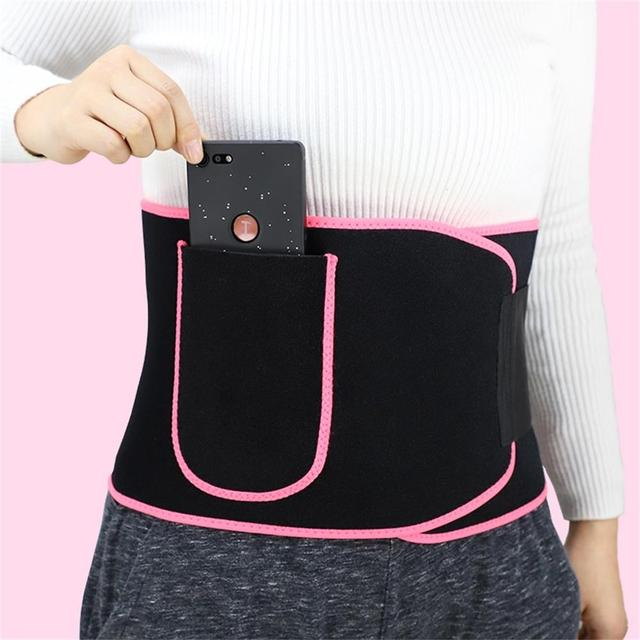 Unisex Waist Trimmer Trainer Fitness Workout Elastic Shaping Sweat Sauna Abdomen Sports Fitness Belt with Pocket for Cell Phone