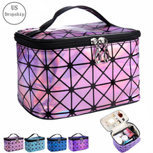 3D Laser Travel Cosmetic Bag Women's Makeup Bags Toiletries Organizer Large Capacity Wash Bag Waterproof Storage Make Up Cases недорого