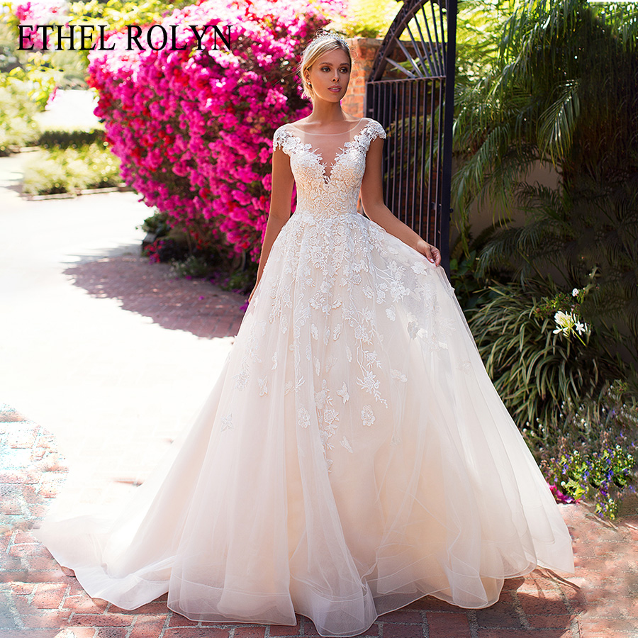 ETHEL ROLYN Sexy V-neck Fashion Backless Short Wedding Dress Romantic Lace Appliques Tulle A-Line Wedding Gowns Robe De Mariee