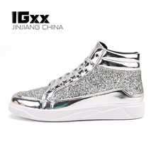 IGxx High top Shoes CL Casual GZ Skateboard Lace-up PU Bling Men's Sneakers Punk